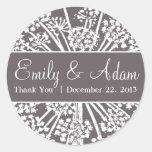 Grey and White Dandelion Wedding Sticker