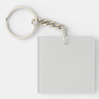 Grey and White Diagonal Stripes Double-Sided Square Acrylic Keychain