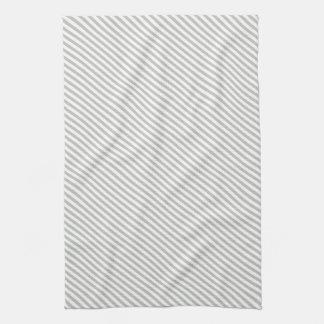 Grey and White Diagonal Stripes Kitchen Towel