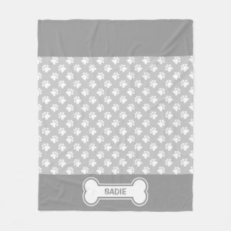 Grey And White Dog Paws And Bone With Name Fleece Blanket