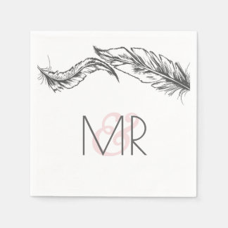 Grey and White Feathers Elegant Wedding Paper Napkin