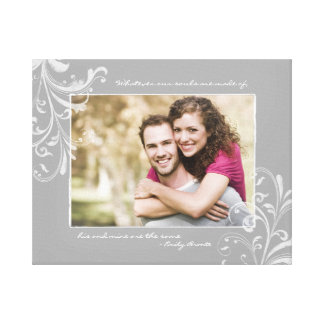 Grey and White Floral Photo Template Picture Gallery Wrapped Canvas