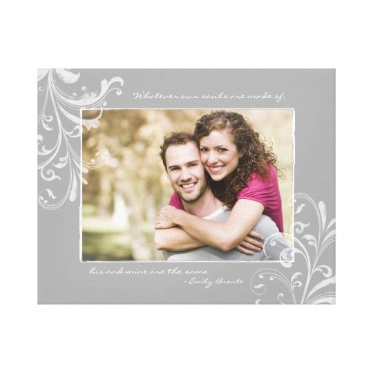 Grey and White Floral Photo Template Picture Canvas Print