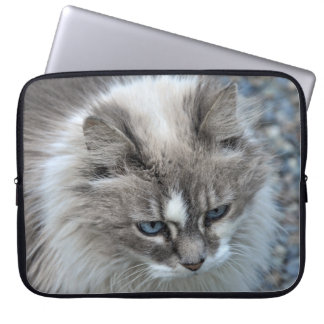 Grey and white fuzzy cat laptop sleeve
