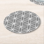 "Grey and White Graphic Lotus Flower Design Round Paper Coaster<br><div class=""desc"">The puzzle coaster shows a grey and white graphic lotus flower design. &quot;Customize it!&quot; allows to personalize this stylish graphic design by selecting your favorite background color. The pattern design is available for all Zazzle products. If it is not yet available or you have an inquiry about customizing a print...</div>"