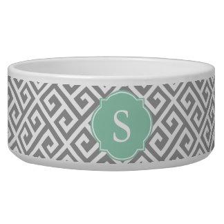 Grey and White Greek Key Monogram Large Dog Bowl