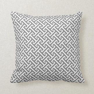 Grey and White Greek Key Pattern Throw Pillow
