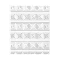 Grey and White Greek Pattern Canvas Print