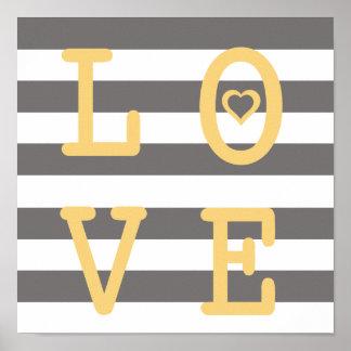 Grey and White LOVE Nursery Wall Print
