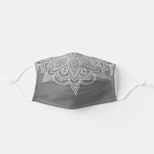 Grey and White Mandala Bandana Style Covid 19 Cloth Face Mask