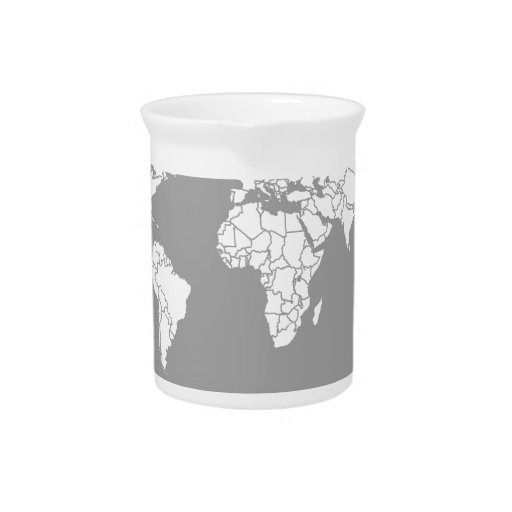Grey and White Map of the World Beverage Pitchers