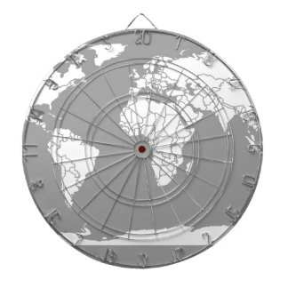 Grey and White Map of the World Dart Boards