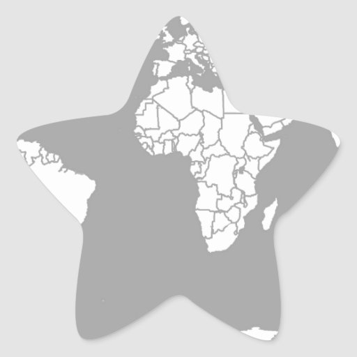 Grey and White Map of the World Star Sticker