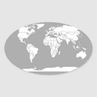 Grey and White Map of the World Sticker