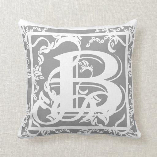 grey and white monogram b mojo throw pillows zazzle. Black Bedroom Furniture Sets. Home Design Ideas