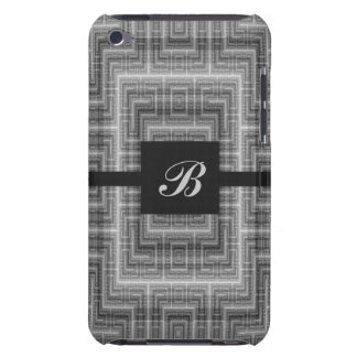 Grey and White Monogram Customizable iPod Touch Case