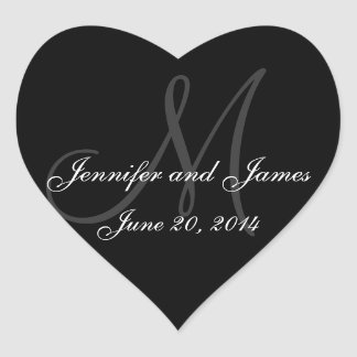 Grey and White Monogram Wedding Heart Labels