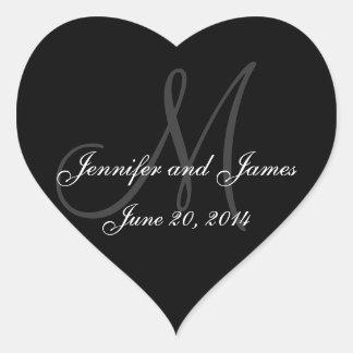 Grey and White Monogram Wedding Heart Labels Heart Sticker
