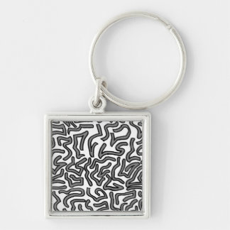 Grey and white noise doodle image graphic keychain