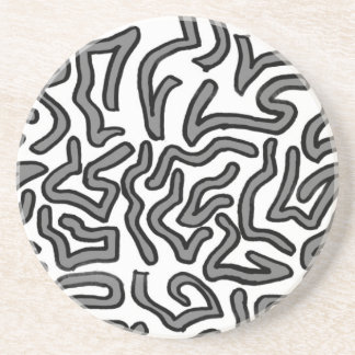 Grey and white noise doodle image graphic sandstone coaster