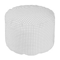 Grey and White Polka Dot Pattern Pouf Seat
