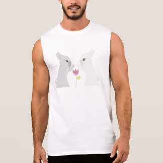 Grey And White Rabbit Sleeveless Shirts