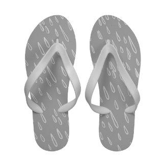 Grey and White Rain Drops Flip Flops