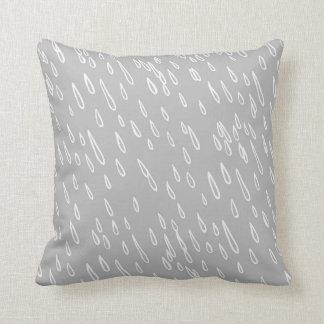 Grey and White Rain Drops Pillows