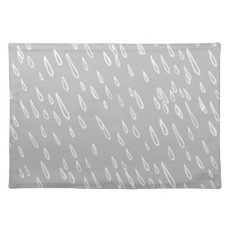 Grey and White Rain Drops Placemat