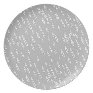 Grey and White Rain Drops Dinner Plate