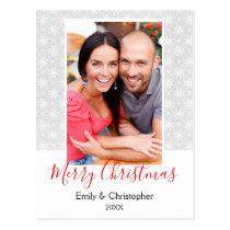 Grey and White Snowflake Christmas Photo Card