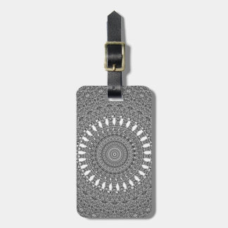 Grey and White Spiraling Vector Pattern Luggage Tag