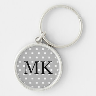 Grey and White Squares Keychain