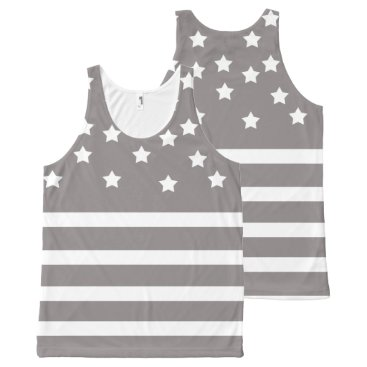 Professional Business Grey and White Stars & Stripes All-Over-Print Tank Top