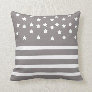 Grey and White Stars & Stripes Throw Pillow