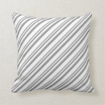 [ Thumbnail: Grey and White Striped/Lined Pattern Throw Pillow ]