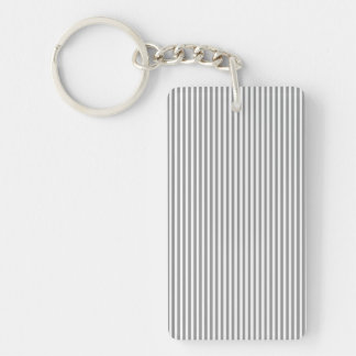 Grey and White Stripes Double-Sided Rectangular Acrylic Keychain