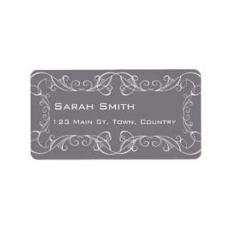 Grey and White Swirls Wedding Return RSVP Labels