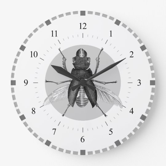 Grey and White Vintage Beetle Clock