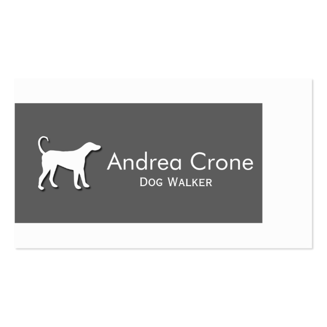 Grey and White With Dog Silhouette Business Cards