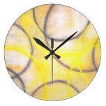 Grey and Yellow Abstract Art Clock