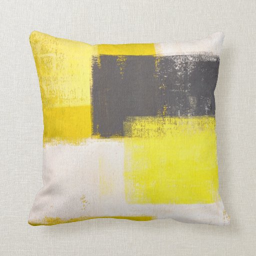 Grey and Yellow Abstract Art Pillow