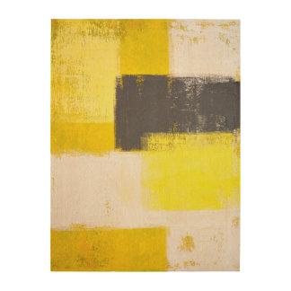 Grey and Yellow Abstract Art Wood Canvas Print Wood Wall Art