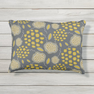 Grey and Yellow Abstract Floral Pillow