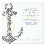 Grey and Yellow Anchor Beach Wedding Invitation