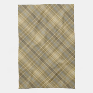 Grey and yellow diagonal tartan hand towel