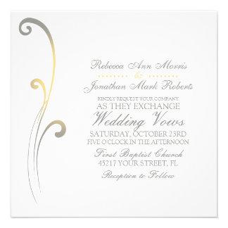 Grey and Yellow Faded Flourish Wedding Invitation