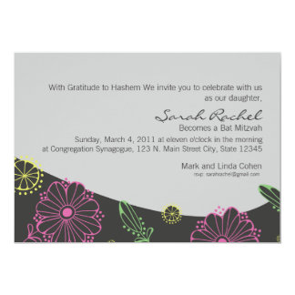 Grey and Yellow flower Bas Mitzvah Inviation Card