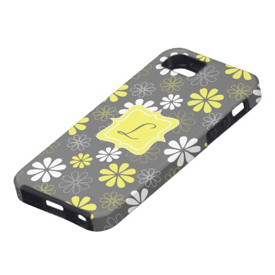 Grey and Yellow Flower Monogram Pattern iPhone SE/5/5s Case