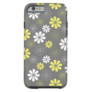 Grey and Yellow Flower Pattern iPhone 6 Case